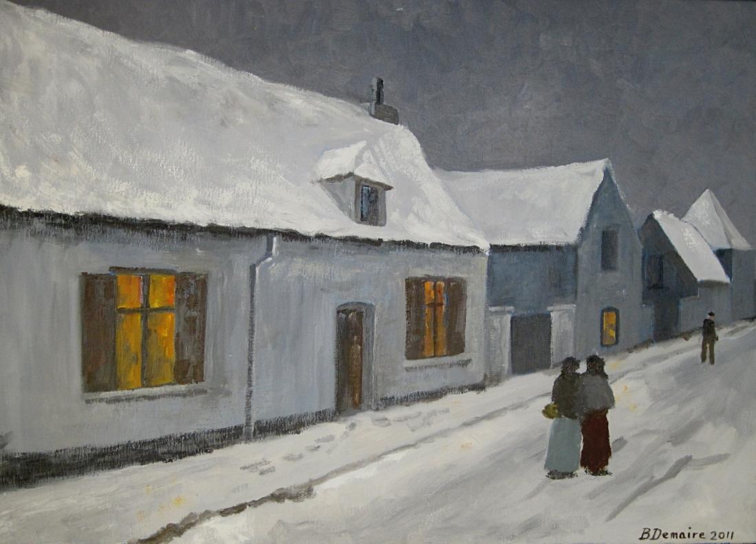 Orcq rue de l'église sous la neige
